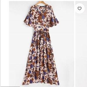 Zaful Split Sleeve Floral Print Maxi Tea Dress